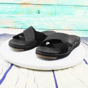 UGG  Kari Black Leather Slides Size 8.5
